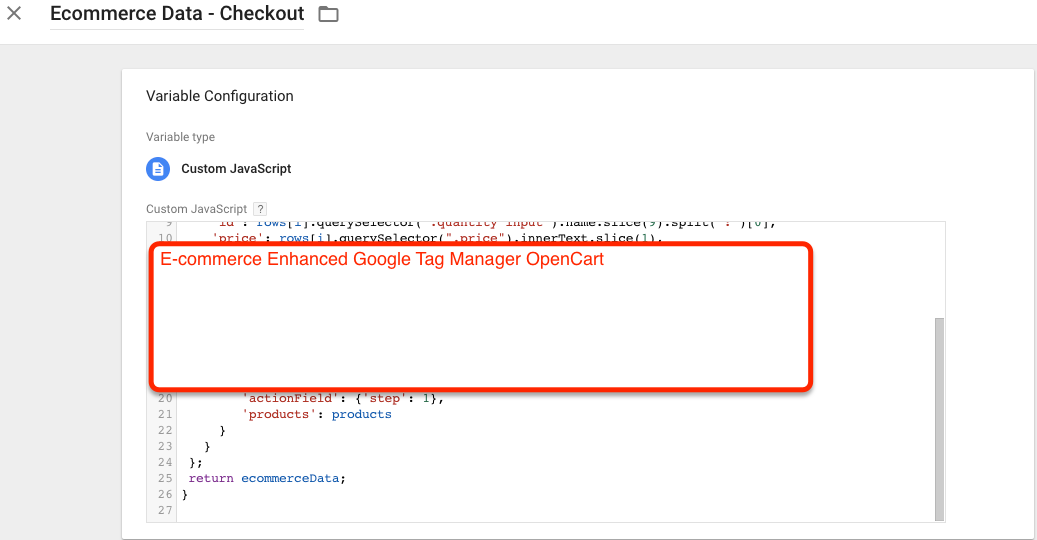 OpenCart Google Tag Manager Ecommerce Tracking