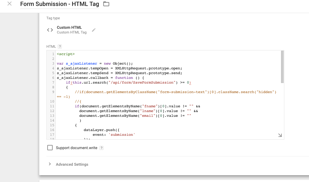 Custom HTML Squarespace form Submission using Google Tag Manager