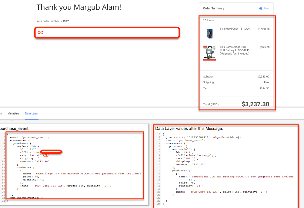 Custom Javascript E-commerce Tracking using Google Tag