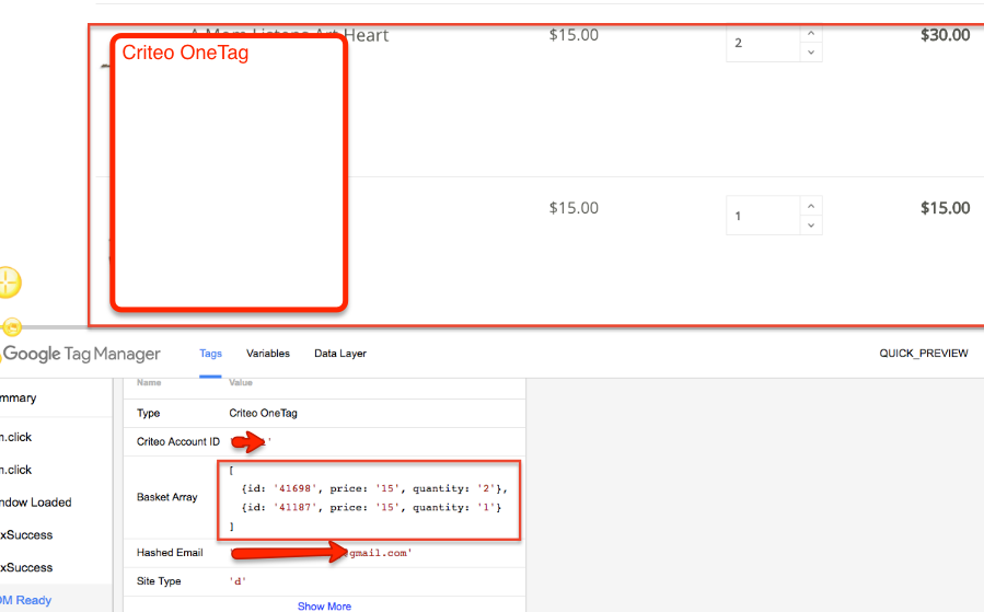 Google Tag Manager DataLayer Criteo Setup for Basket