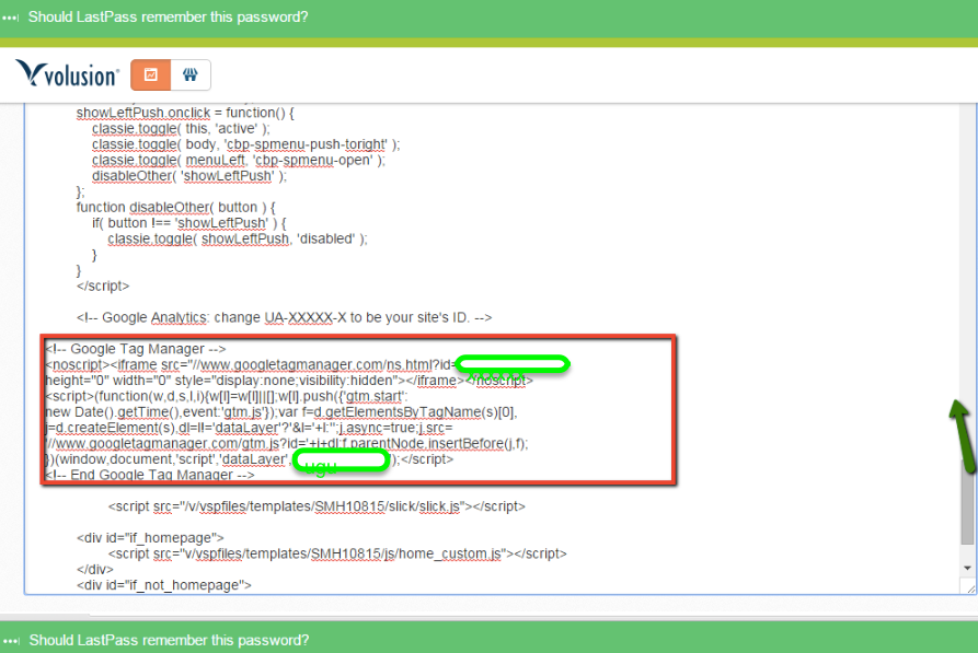 add Google Dynamic Remarketing Code in Volusion
