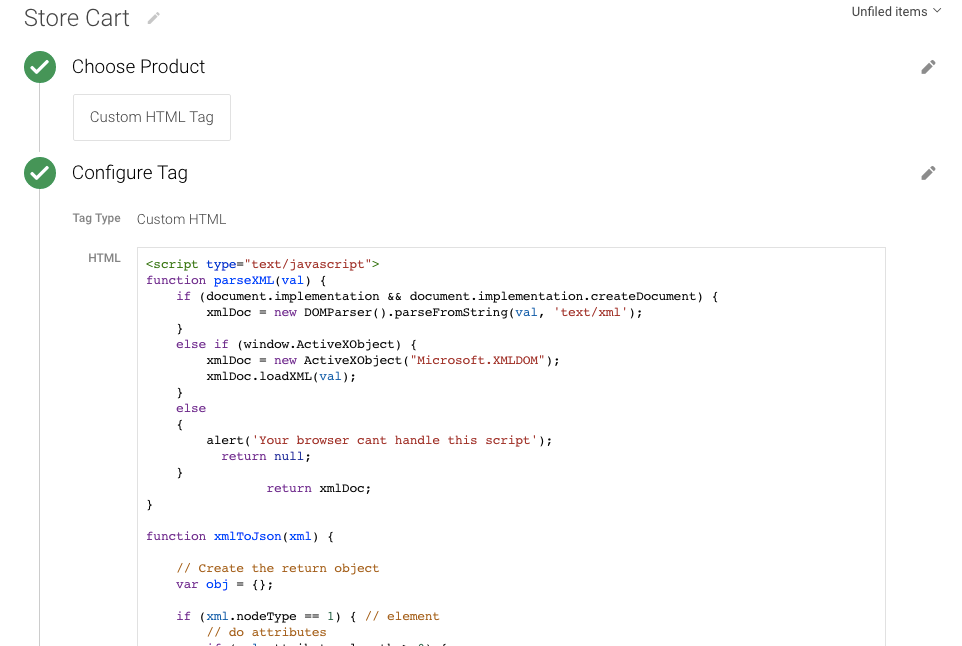 Google Tag Manager E-commerce data Layer