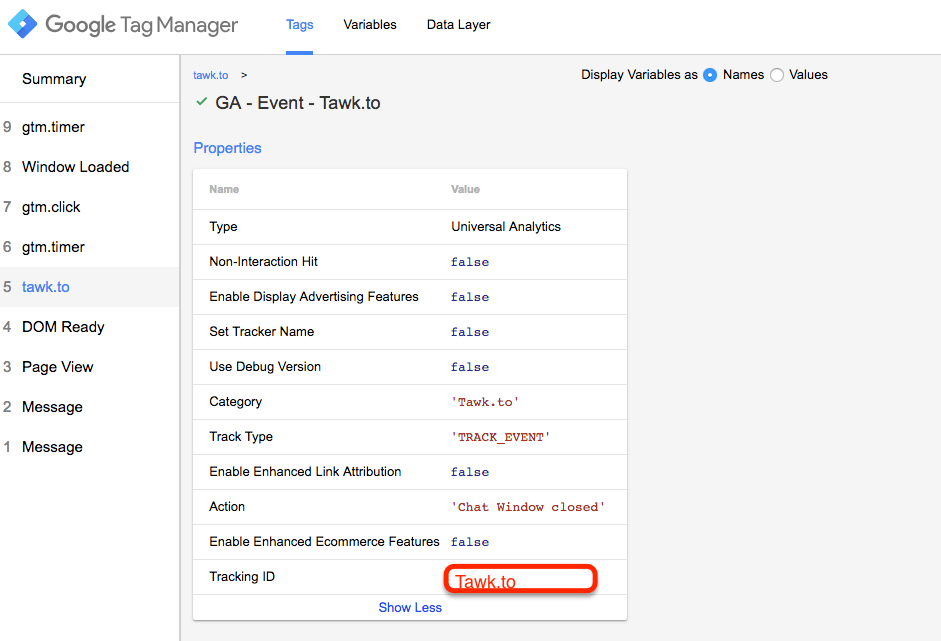 Track Tawk Live Chat App Event Tracking