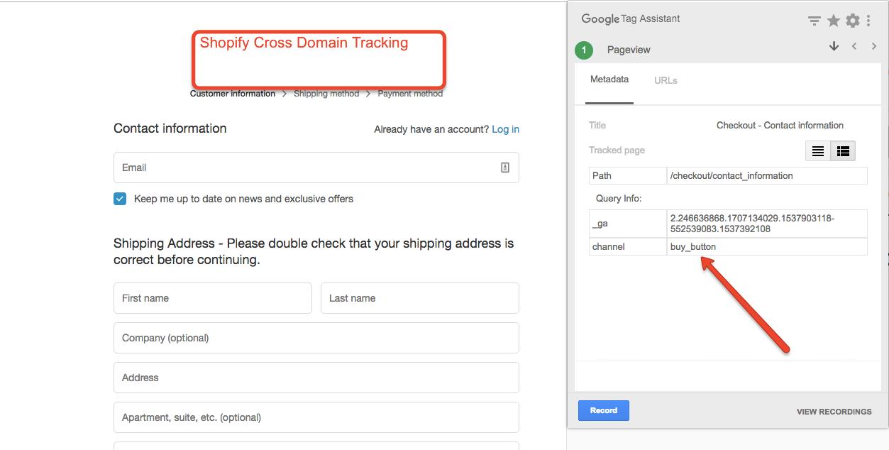 Shopify Cross Domain Buy Button Google Analytics
